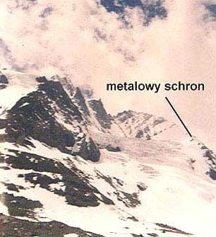 Widok z lodowca na szczyt